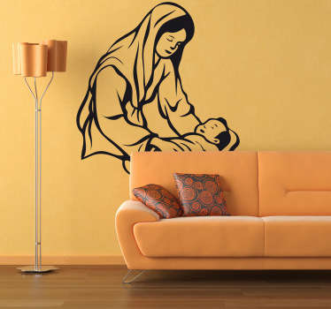 A Christian wall art decal illustrating Mary cradling baby Jesus. A great Christmas sticker to decorate any space during this festive season.