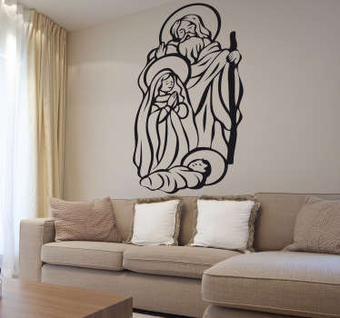 An original Christian wall art decal illustrating the birth of Jesus. A nice Christmas sticker to decorate your living room or business.