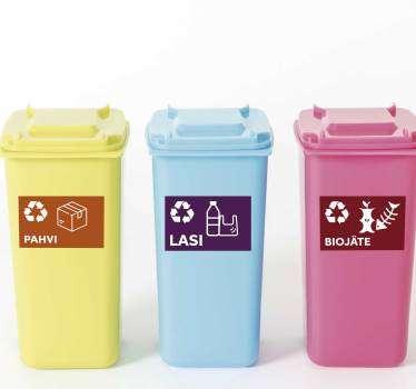 Useita kierrätysvinyylimerkkejä