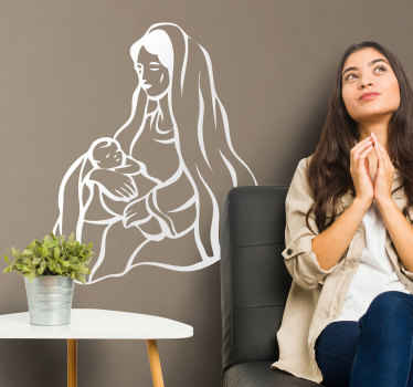 A brilliant illustration of Mary watching over baby Jesus. A lovely Christian wall art decal to decorate your home during the Christmas period.