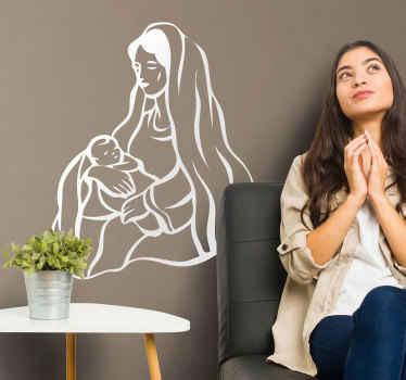Naklejka Maryja Dziewica i dzieciątko Jezus