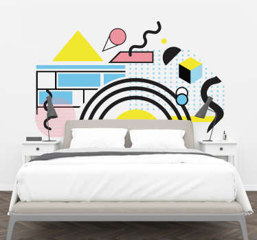 Memphis style headboard wall sticker with the design of an original abstract art  to decorate the bedroom space. It can be chosen in any size.
