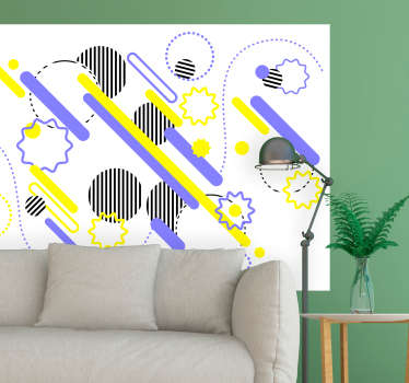 An adhesive decorative wall art sticker for a living room space . An abstract art designed in Memphis style. Chose it in any size of desire.