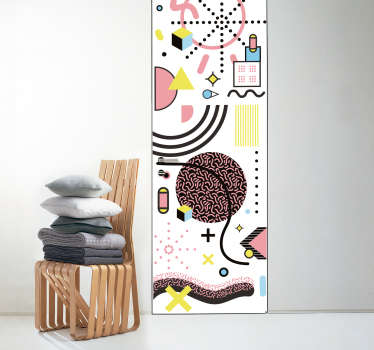 Decorative vinyl door sticker with the design of abstracts art in Memphis style . Choose it in the best suitable size for a desires space.