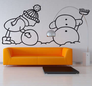 Kid and Snowman Wall Sticker