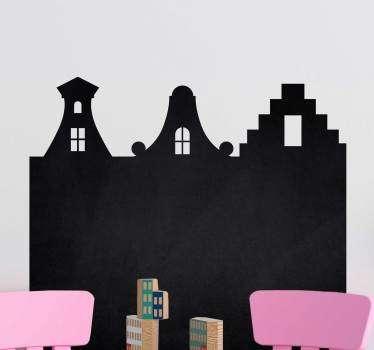 Muurstickers kinderkamer krijtbord grachten huisjes