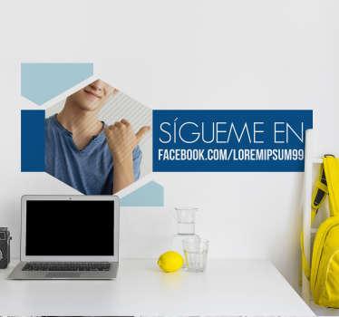 Pegatina adhesiva personalizada para el escaparate de tu negocio ideal para que tus clientes visiten tu Facebook. Promociones Exclusivas vía e-mail
