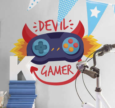 Sticker Mural Devil Gamer