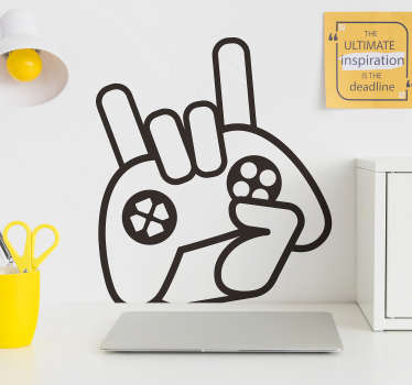 An iconic video gamer sign wall sticker with the design of a hand holding a video game remote. Available in different colours and sizes.