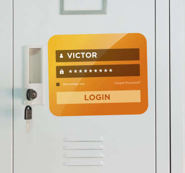 "This custom sticker represents a ""login screen"", like a computer one. At home or at your office, this door decal is an original decoration."