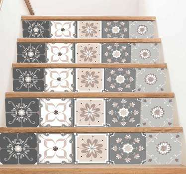 波西米亚风格花卉楼梯贴纸