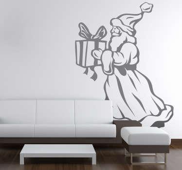 Wandtattoo Weihnachtsmann mit Geschenk