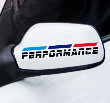 Car mirror sticker with graphic text print of  ''performance''. Self adhesive and easy to apply. Choose it in the best suitable size.