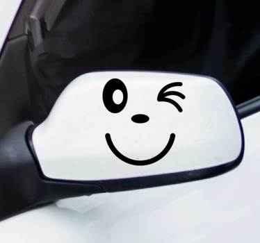 Cartoon Winky Face Car Sticker