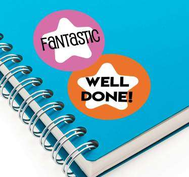 Educational sticker with text that applauds for success and good job. Buy it in the best suitable size to apply on notebooks , text books and more.