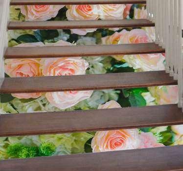 Sticker Maison Roses pour escalier
