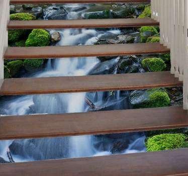 楼梯瀑布楼梯贴纸
