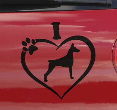 This car sticker represents a doberman inside of a heart drawing. This animal decal is designed for all the people who take their dogs in their car !