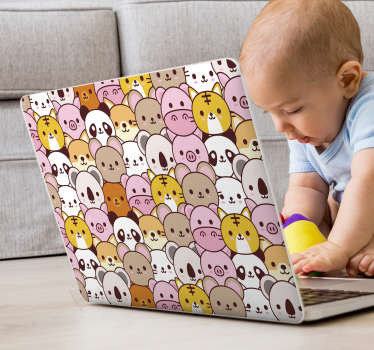 This laptop vinyl represents several baby animals, smiling happily to anyone who will see your computer. For any type of device.