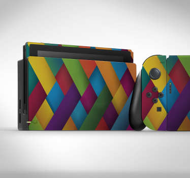 Multi colour cross section patterned Nintendo vinyl sticker to wrap the device in complete beauty. Choose the size that matches the model of a device.