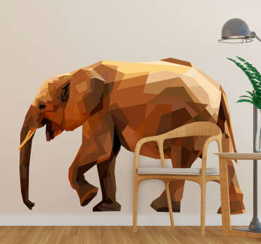 An original geometric elephant wall sticker created in glassy textural form. Choose it in the best suitable size for a desires surface.