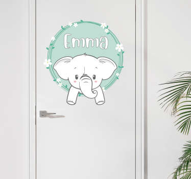 Personalisable name elephant vinyl door sticker to decorate a door surface. Provide the name of choice and select the size.