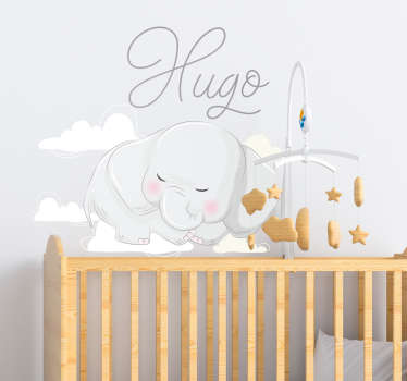 Decorate the bedroom of an infant with this cute sleeping elephant wall sticker that can be personalized with any name of of choice.