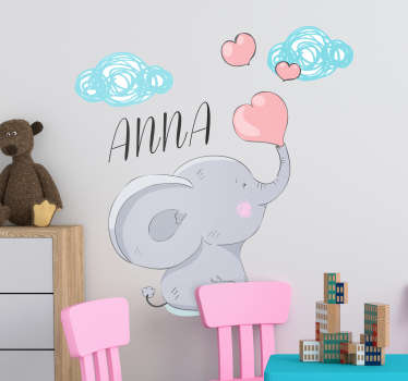 Decorative home wall sticker with the design of a giant elephant with customisable name. Provide the name needed for the design and choose the size.