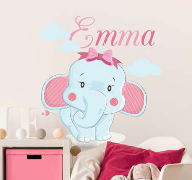 Animal wall art sticker with the design of a cute elephant with a customisable name for children's bedroom decoration.Provide the desired name for it.