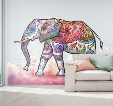 An original wall art sticker of a painted elephant to decorate the home space. An amazing design that is available in different size options.
