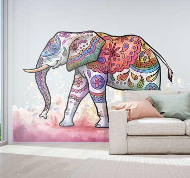 Naklejka na ścianę salony Ornamentowy słoń