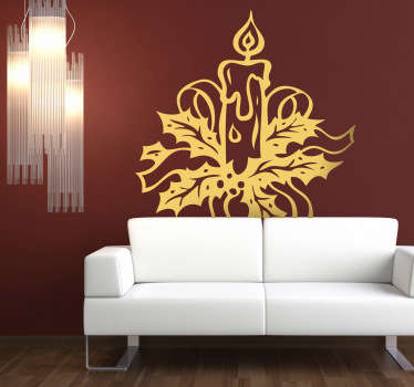 Wall Stickers - Decals - Christmas ornamental candle design. Christmas decorations to get you into the spirit of the season.