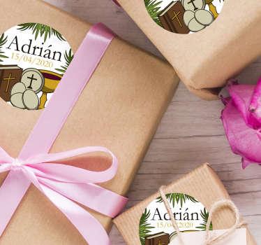 Pack formado por 20 pegatinas de comunión con el nombre del pequeño y la fecha del acontecimiento. Atención al Cliente Personalizada.