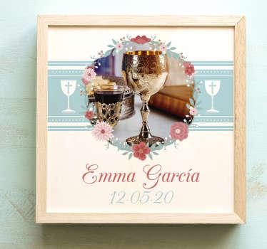 Pegatina para la invitación de la comunión, la cual se puede personalizar con una imagen, un nombre y una fecha. Promociones Exclusivas vía e-mail.
