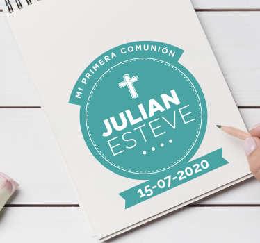 Vinilo frase invitación comunión con nombre