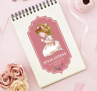 Pegatina personalizable en color rosa para decorar las invitaciones de la comunión de tu pequeña. Descuentos para nuevos usuarios.