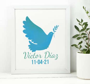 Vinilo pared paloma de la paz con nombre