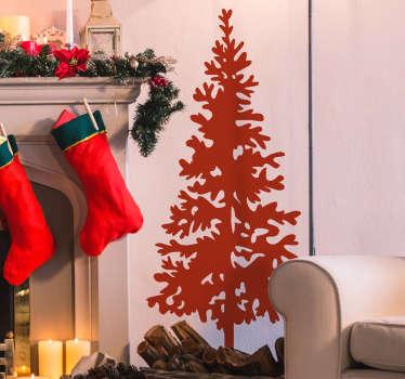 Silhuet juletræ klistermærke