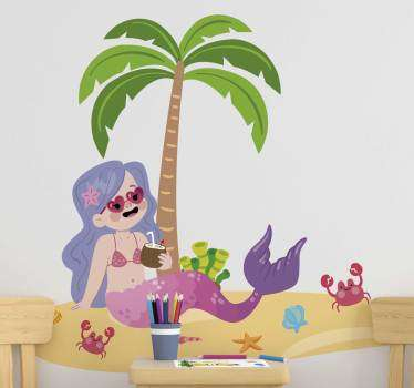 Think about how this mermaid on the beach illustration sticker can make your kid incredibly happy. Trust our anti-bubble vinyl.