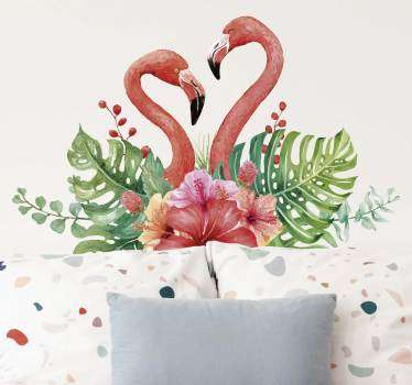 Vinilo dormitorio tropical flamingos