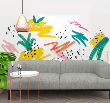 Decorate the home wall space in this abstract painting multicolored Memphis summer sticker design. Available in any size. Easy to apply.