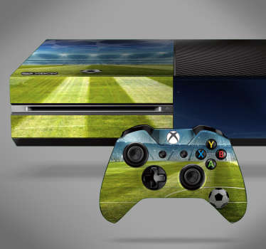 Decorative xbox wrap decal with the design of a 3D visual effect soccer stadium. Choose it in the ideal size that model perfectly with the device.