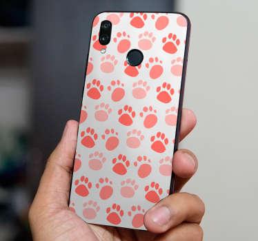Vinilo Huawei patrón huellas perro