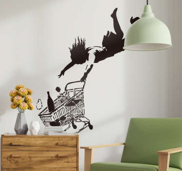 Home wall art sticker with the design silhouettes of Banksy with shopping cart. Available in different sizes and colour. Easy to apply.