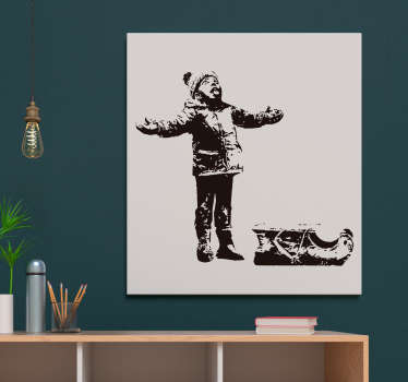 Decorative wall art decal of a boy in the snow. A design inspired by the art work of Bansky. Choose it in the best suitable size.
