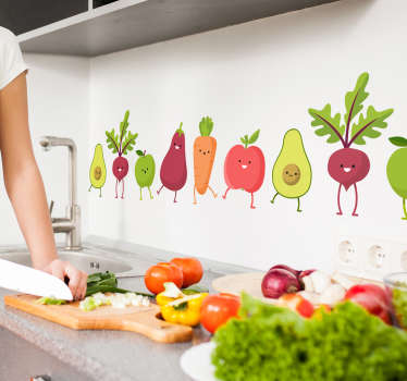 This border wall decor shows different healthy vegetables, with cute faces, to promote a healthy lifestyle and make your children happy to eat veggies