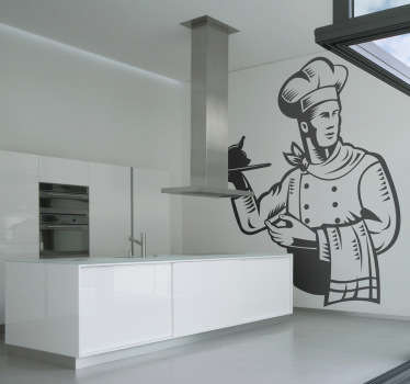 Kitchen Wall Stickers-Original sticker from Tenstickers. Add a different touch to your kitchen with this design of a handsome chef