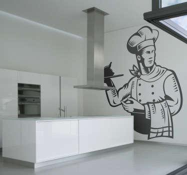 Sticker chef cuisinier plateau
