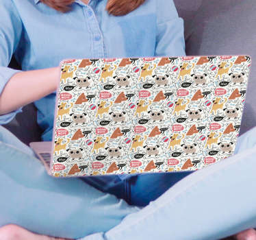 Decorative laptop vinyl skin wrap created with the design of multiple pattern dog print. Choose the size that fits the dimension of your laptop.