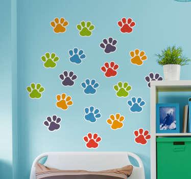 Vinilos decorativos para el habitación infantil con diseño de huellas de perro en diferentes colores ¡Perfecto para amantes de los perros!